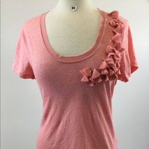 DKNY Pink Scoop Neck Ruffle Shirt Size L (B-88)